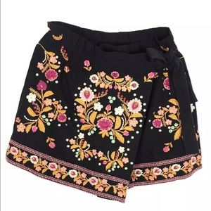 Zara embroidered floral skirt shirt s nwt